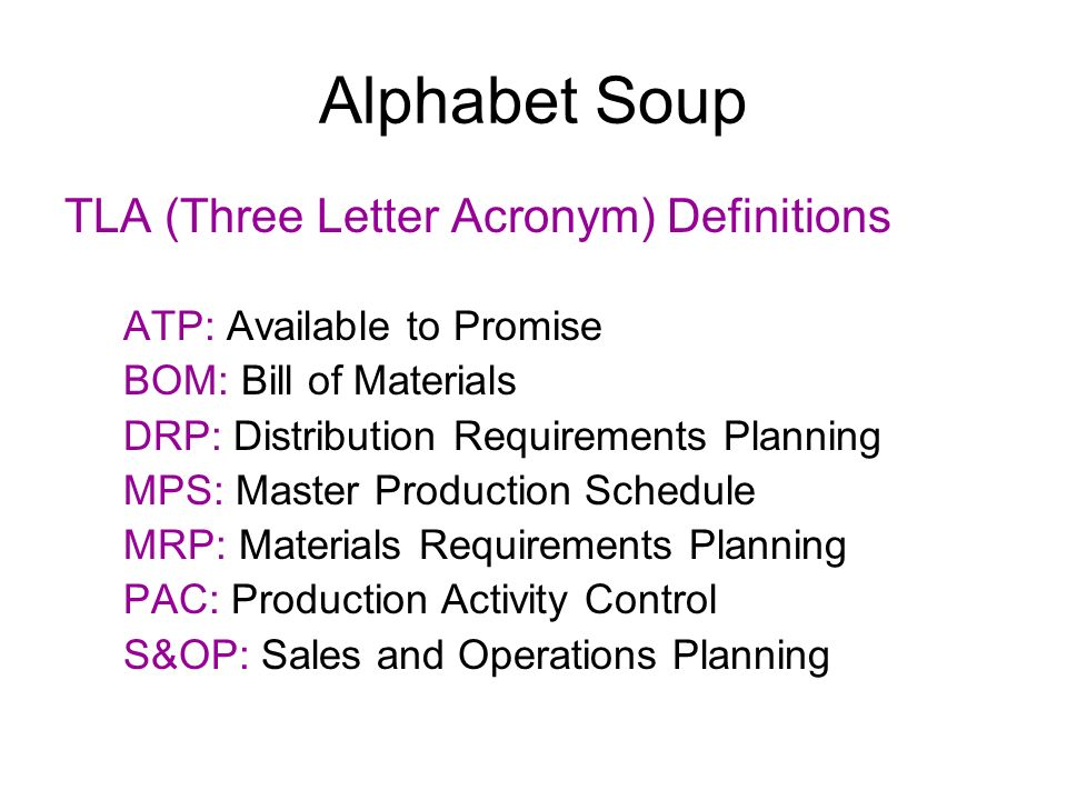 Alphabet Soup TLA (Three Letter Acronym) Definitions