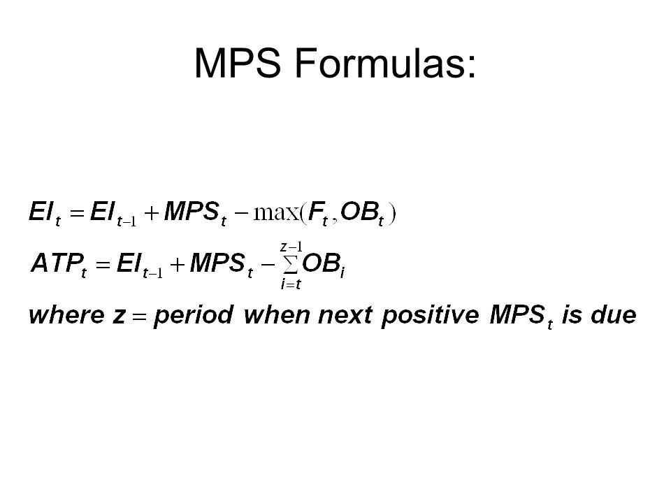 MPS Formulas: