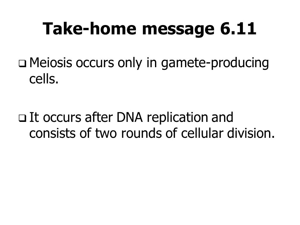 Take-home message 6.11 Meiosis occurs only in gamete-producing cells.