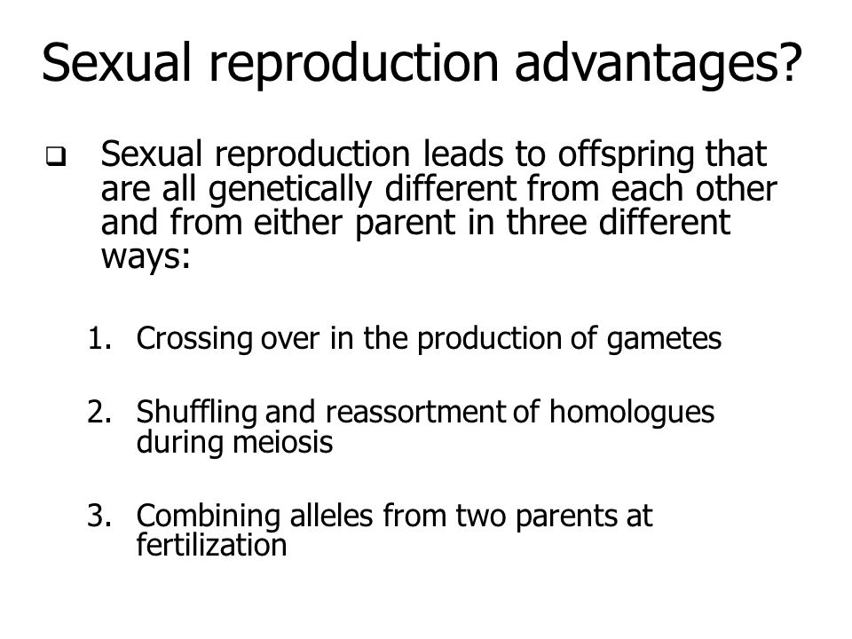 Sexual reproduction advantages