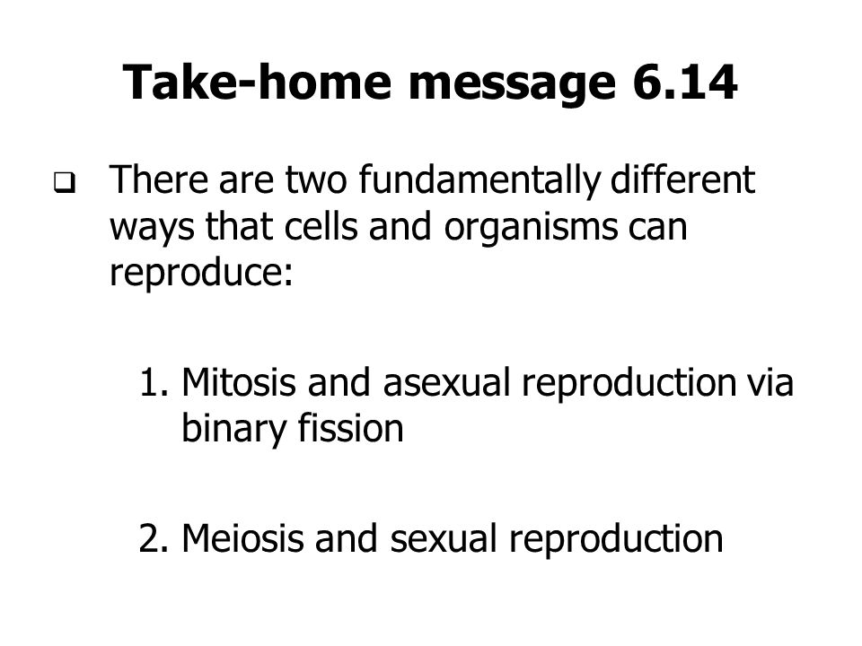 Take-home message 6.14 There are two fundamentally different ways that cells and organisms can reproduce: