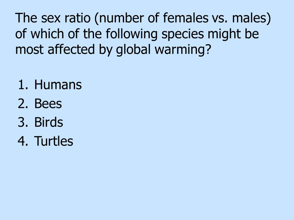 The sex ratio (number of females vs