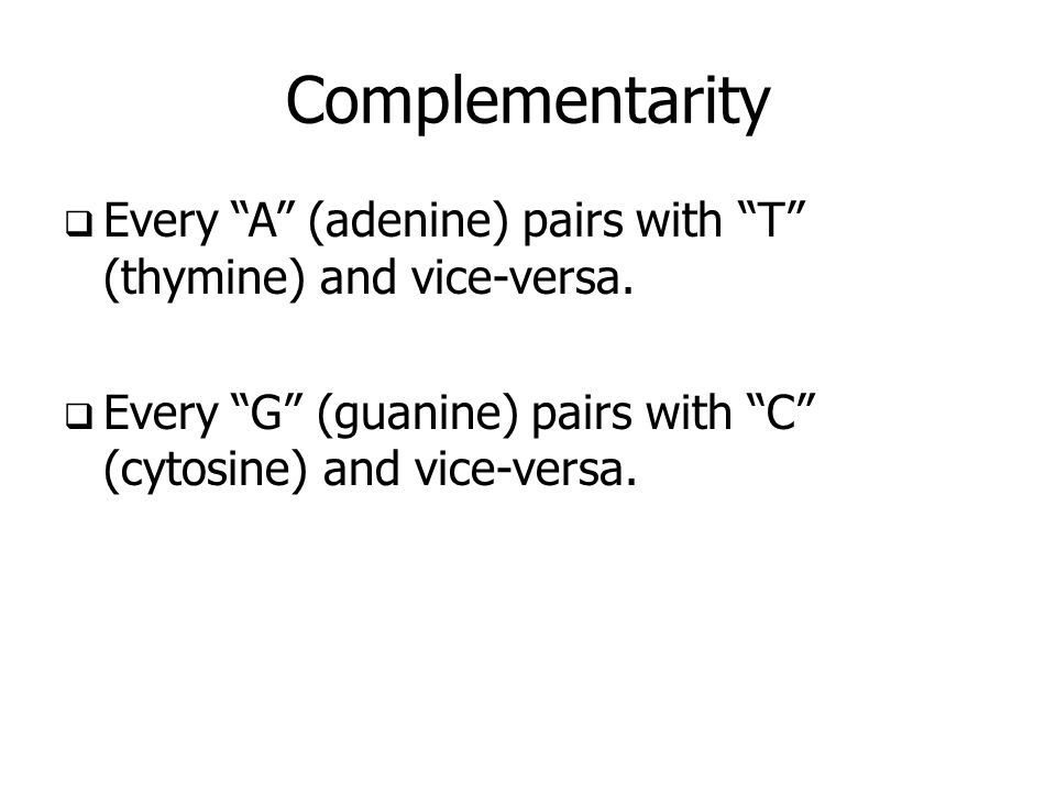 Complementarity Every A (adenine) pairs with T (thymine) and vice-versa.