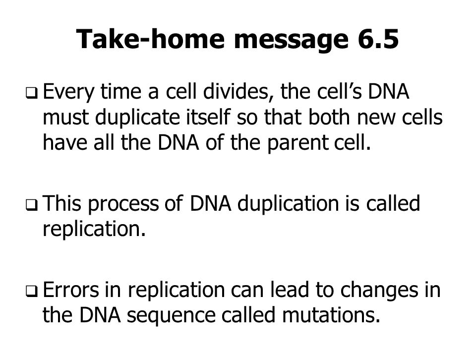 Take-home message 6.5 Every time a cell divides, the cell's DNA must duplicate itself so that both new cells have all the DNA of the parent cell.