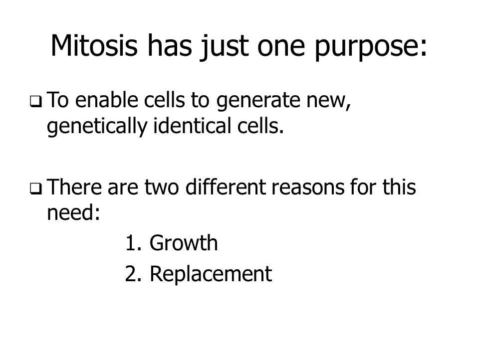 Mitosis has just one purpose: