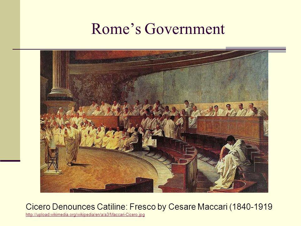 Rome's Government Cicero Denounces Catiline: Fresco by Cesare Maccari (1840-1919.
