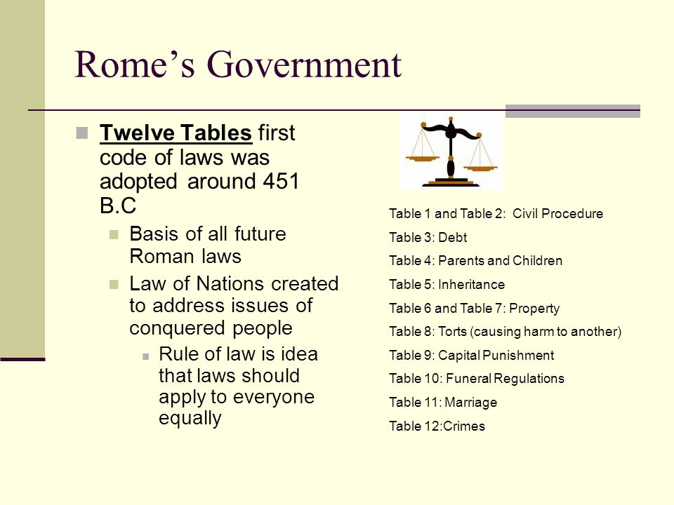 Rome's Government Twelve Tables first code of laws was adopted around 451 B.C. Basis of all future Roman laws.