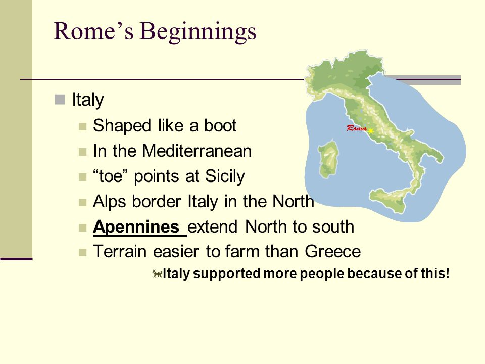 Rome's Beginnings Italy Shaped like a boot In the Mediterranean