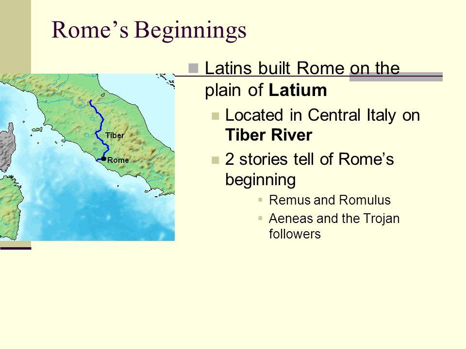 Rome's Beginnings Latins built Rome on the plain of Latium