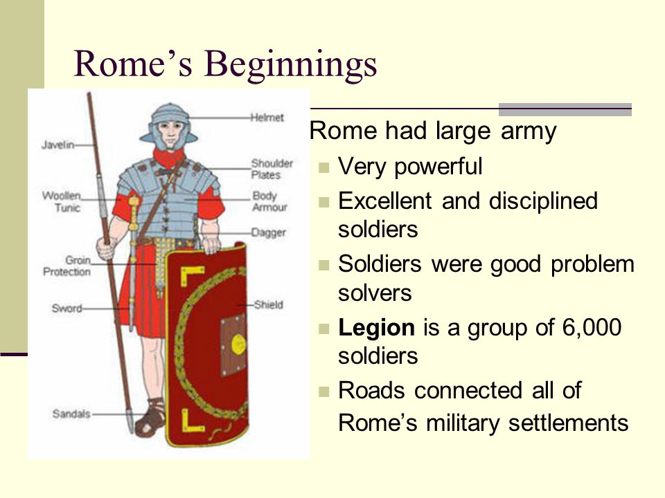 Rome's Beginnings Rome had large army Very powerful