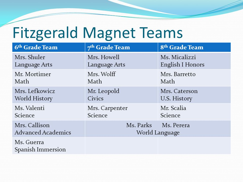Fitzgerald Magnet Teams