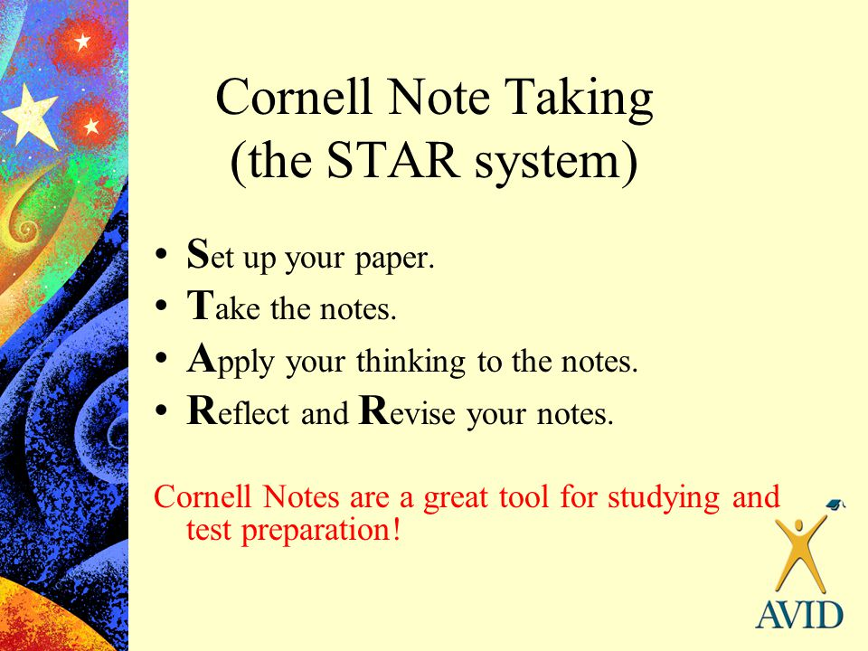 Cornell Note Taking (the STAR system)