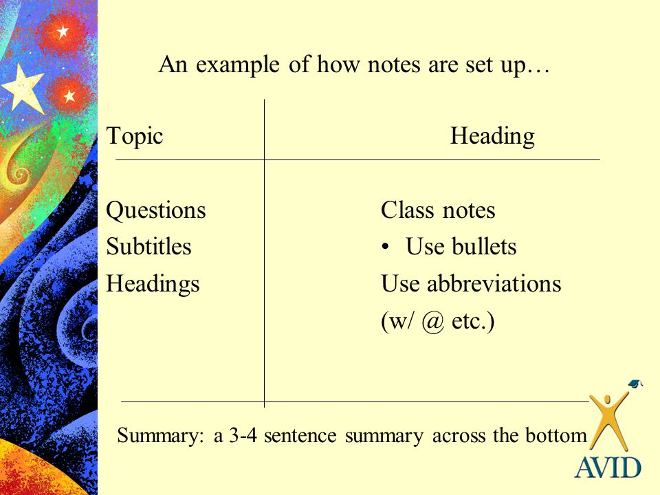 An example of how notes are set up…