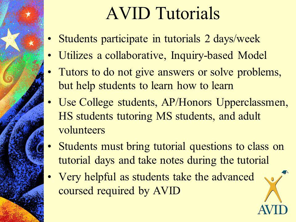 AVID Tutorials Students participate in tutorials 2 days/week