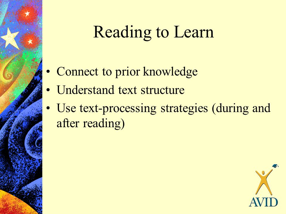 Reading to Learn Connect to prior knowledge Understand text structure