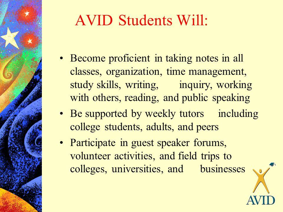 AVID Students Will: