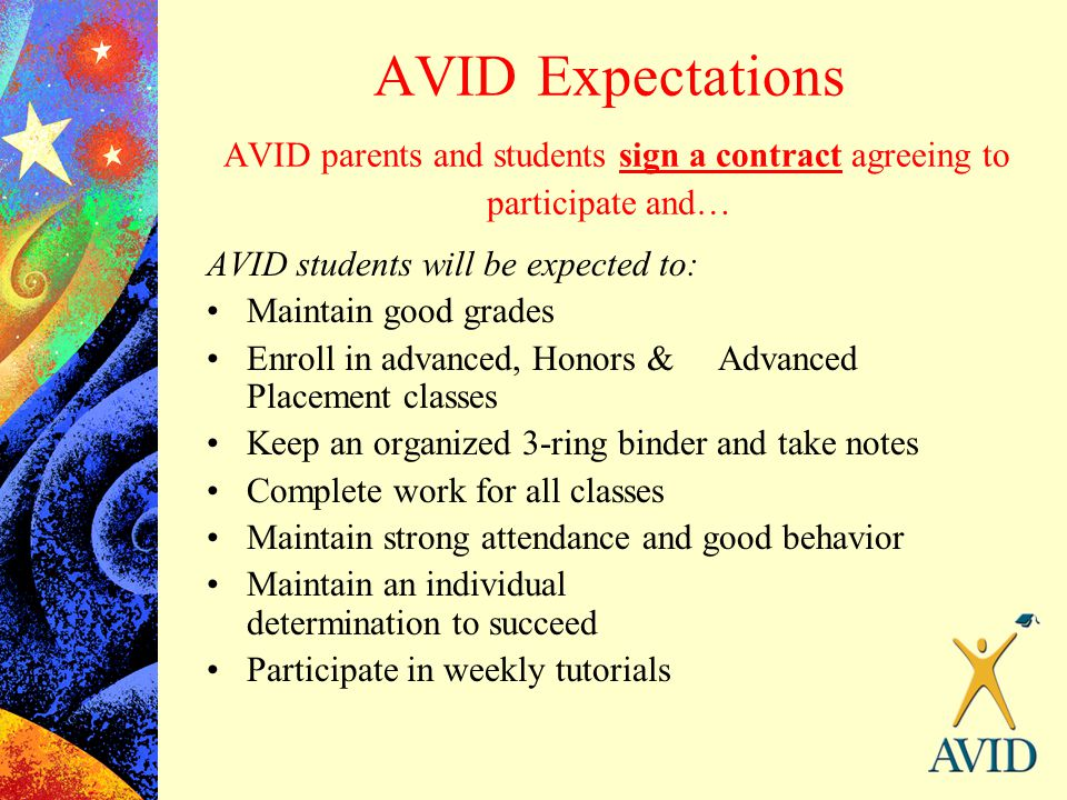 AVID Expectations AVID parents and students sign a contract agreeing to participate and…
