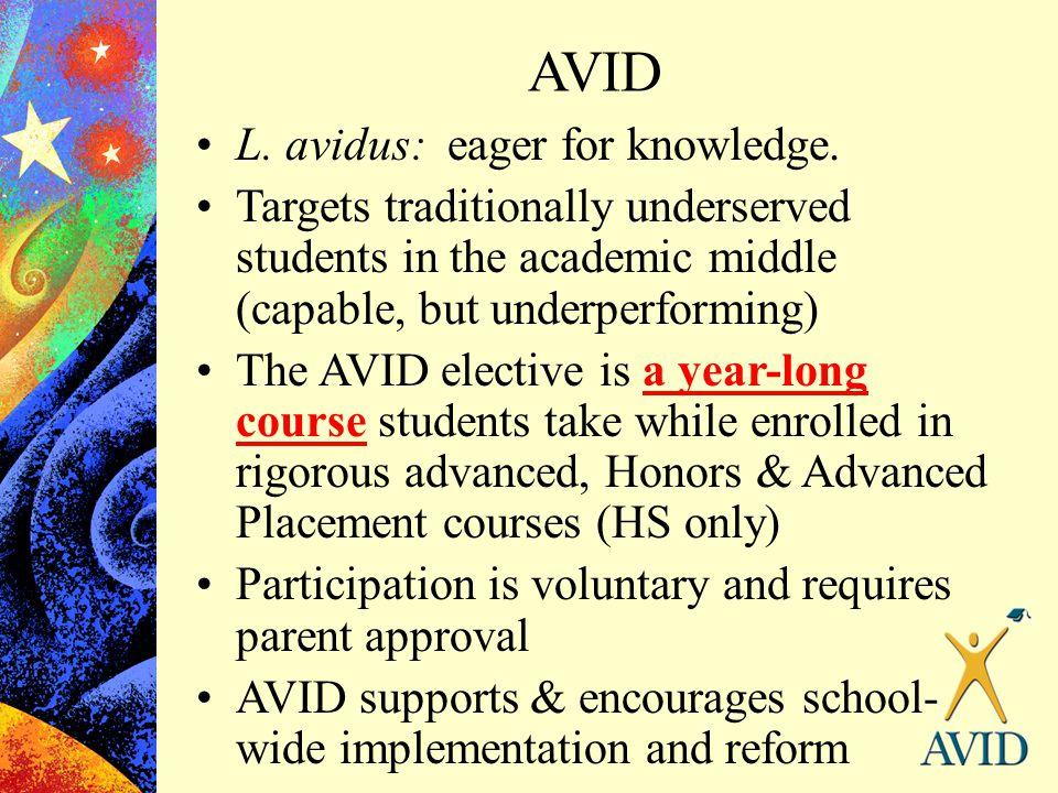 AVID L. avidus: eager for knowledge.