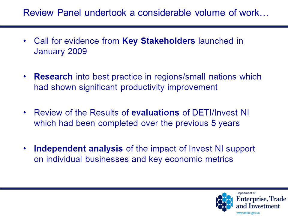Review Panel undertook a considerable volume of work…