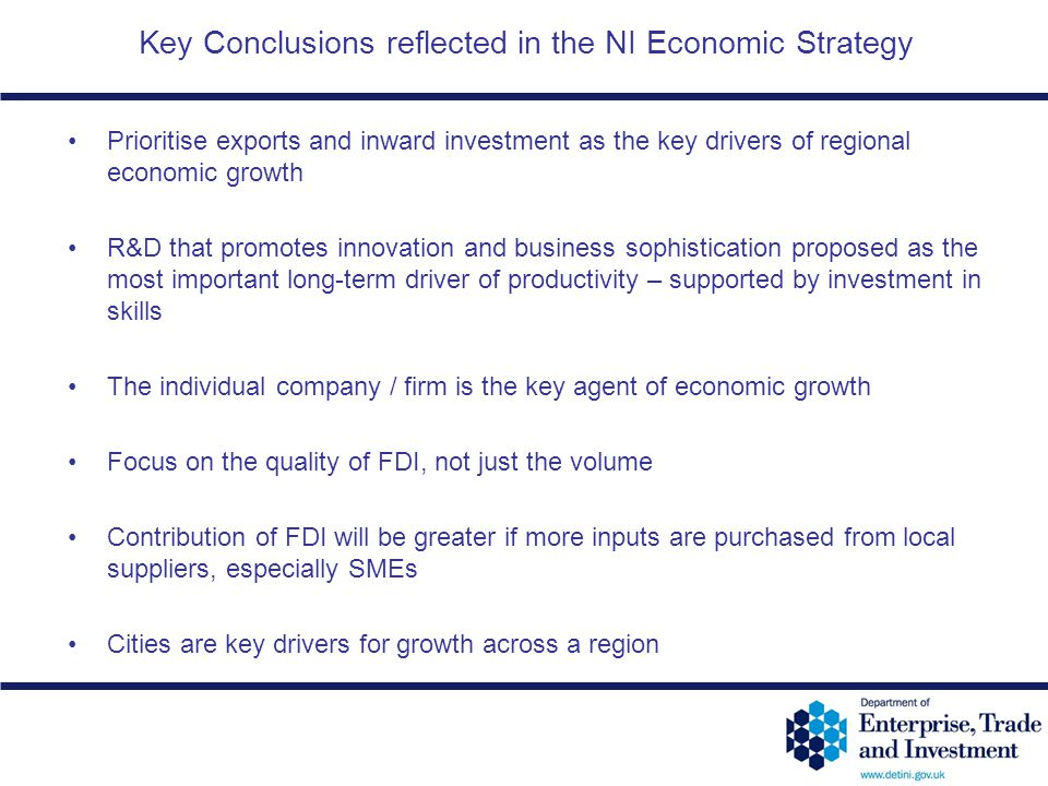 Key Conclusions reflected in the NI Economic Strategy