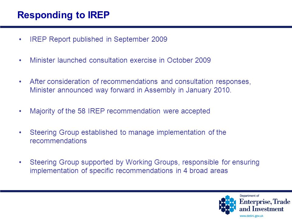 Responding to IREP IREP Report published in September 2009