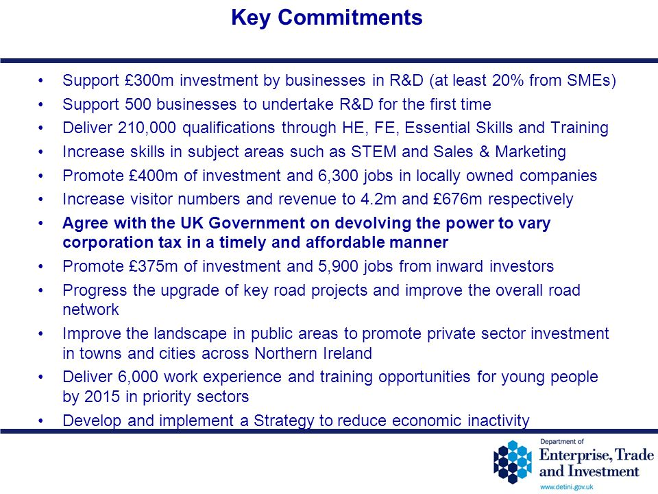 Key Commitments Support £300m investment by businesses in R&D (at least 20% from SMEs) Support 500 businesses to undertake R&D for the first time.