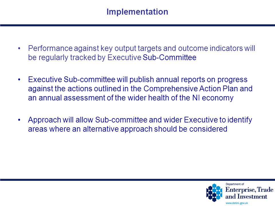 Implementation Performance against key output targets and outcome indicators will be regularly tracked by Executive Sub-Committee.
