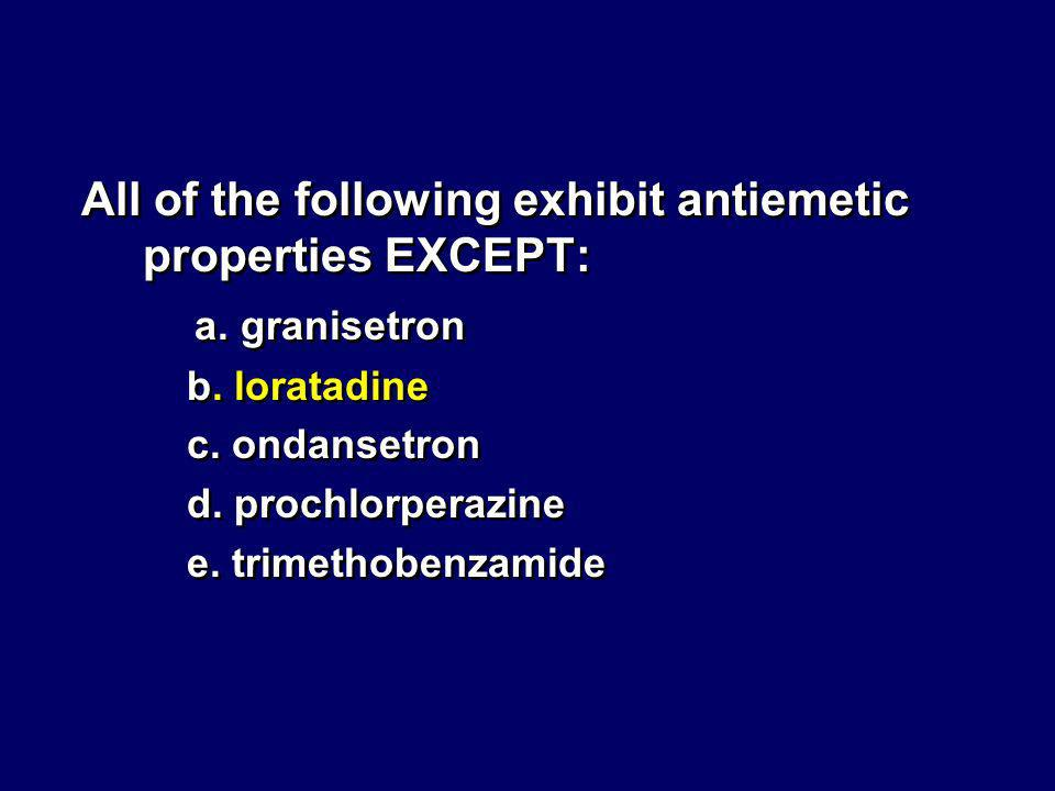 All of the following exhibit antiemetic properties EXCEPT: