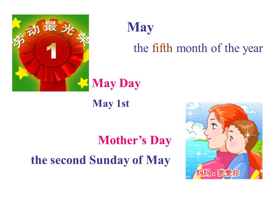 May the fifth month of the year May Day May 1st Mother's Day