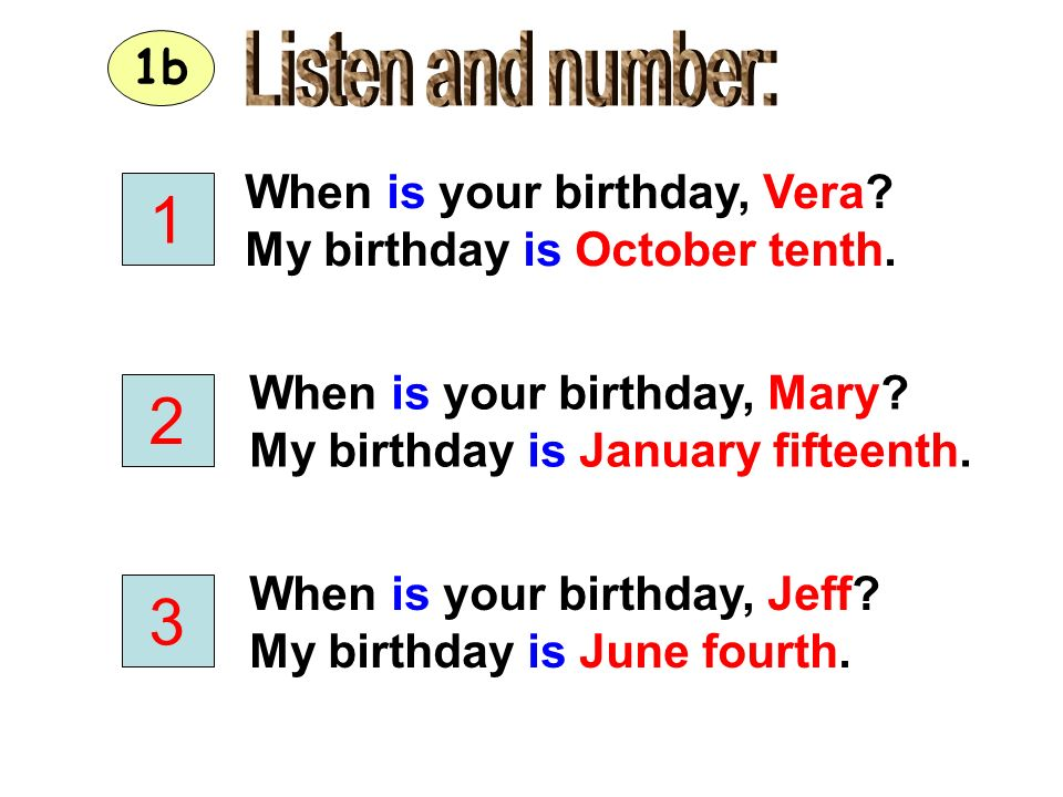 1 2 3 Listen and number: 1b When is your birthday, Vera
