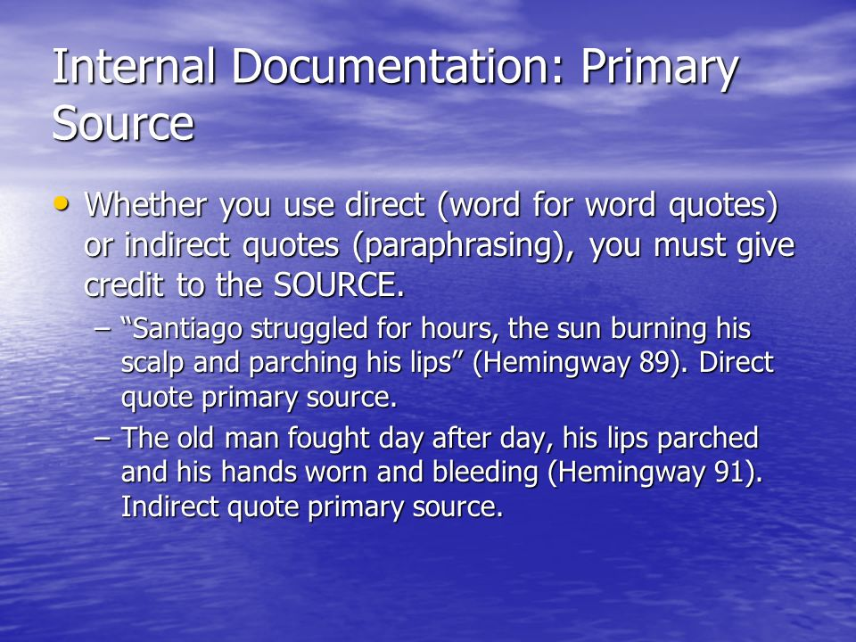 Internal Documentation: Primary Source