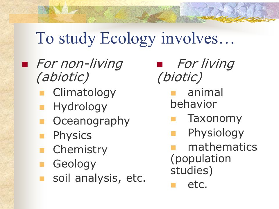 To study Ecology involves…