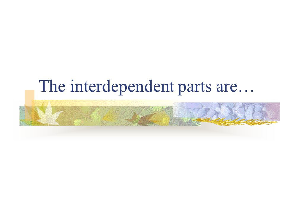The interdependent parts are…