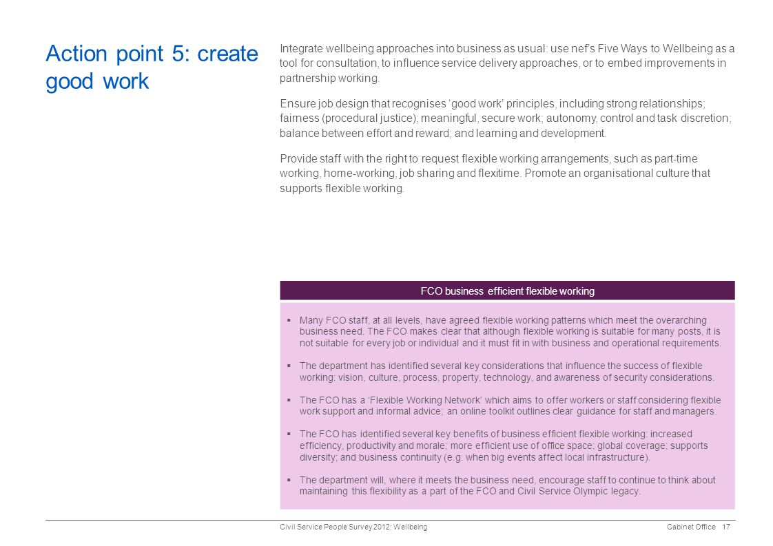 Action point 5: create good work