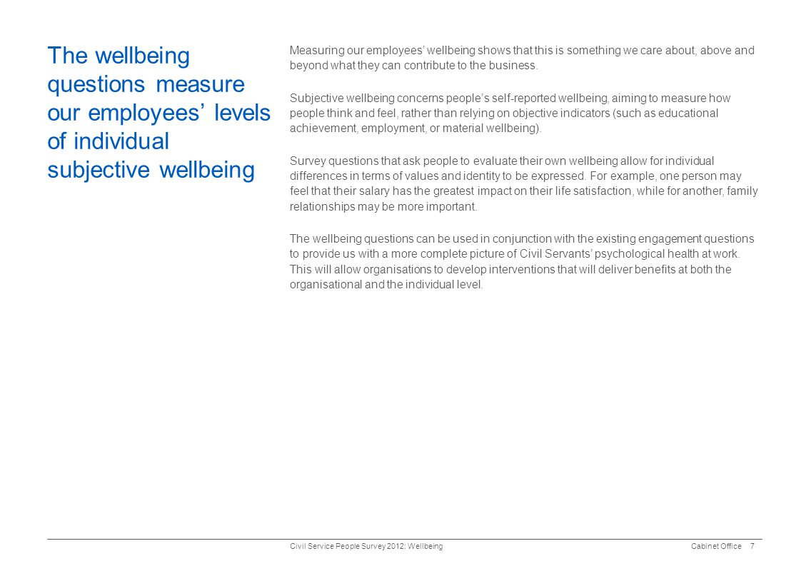 The wellbeing questions measure our employees' levels of individual subjective wellbeing