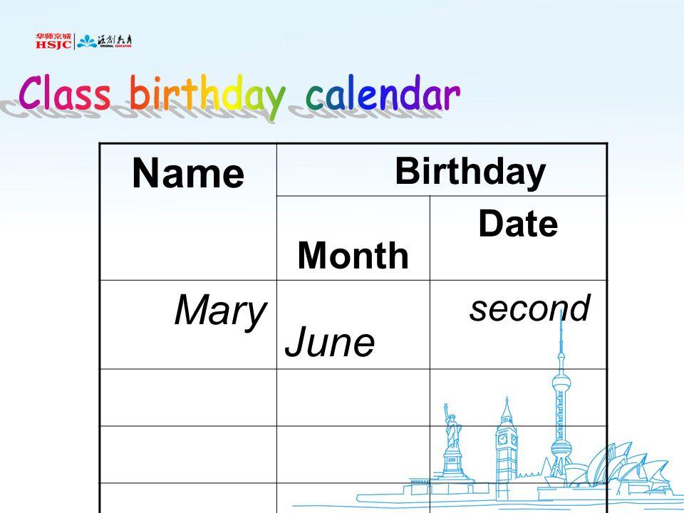 Class birthday calendar