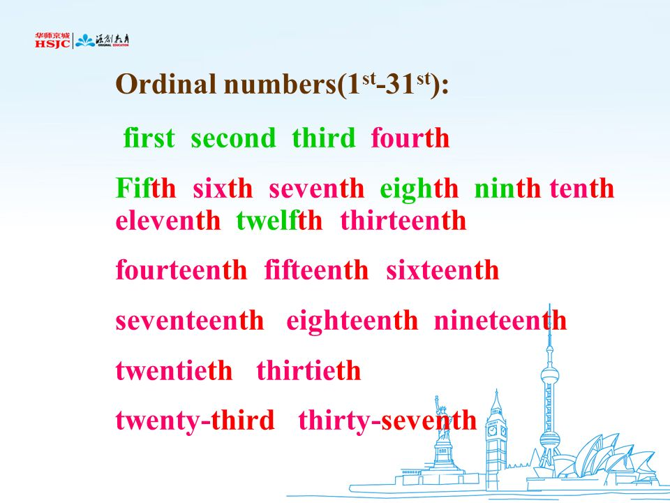 Ordinal numbers(1st-31st):