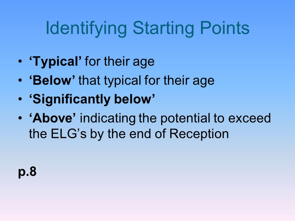 Identifying Starting Points