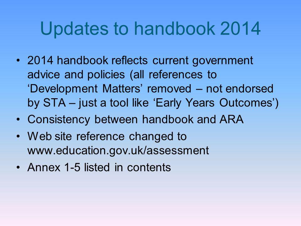 Updates to handbook 2014