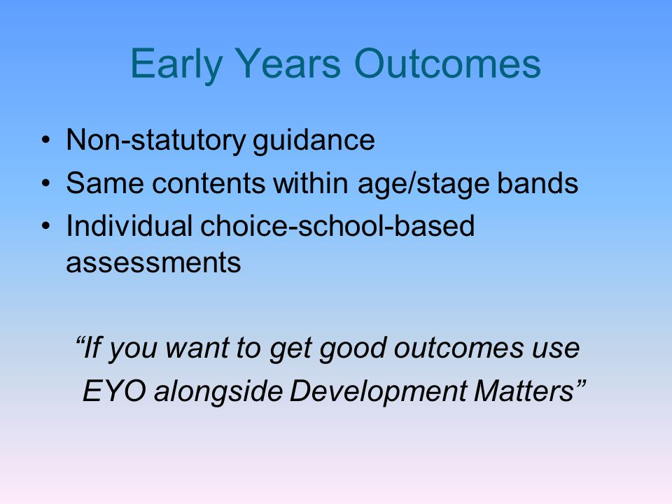 Early Years Outcomes Non-statutory guidance