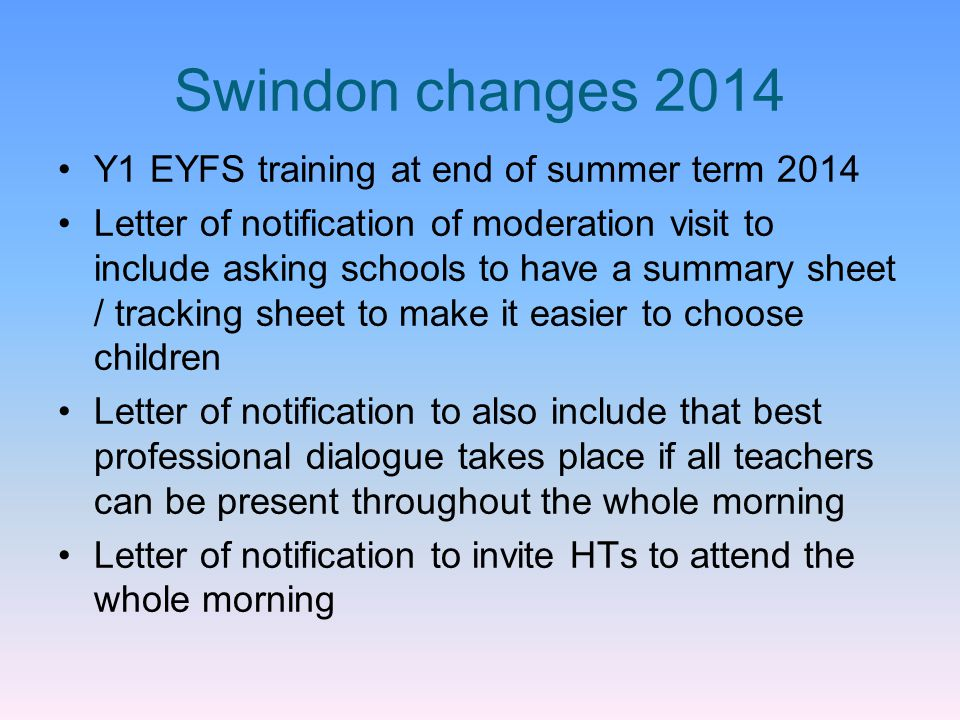 Swindon changes 2014 Y1 EYFS training at end of summer term 2014