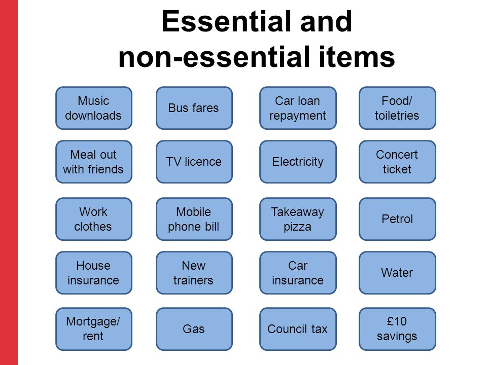 Essential and non-essential items