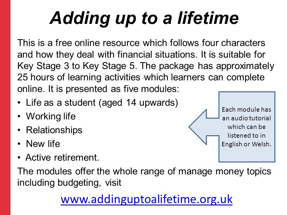 Adding up to a lifetime www.addinguptoalifetime.org.uk