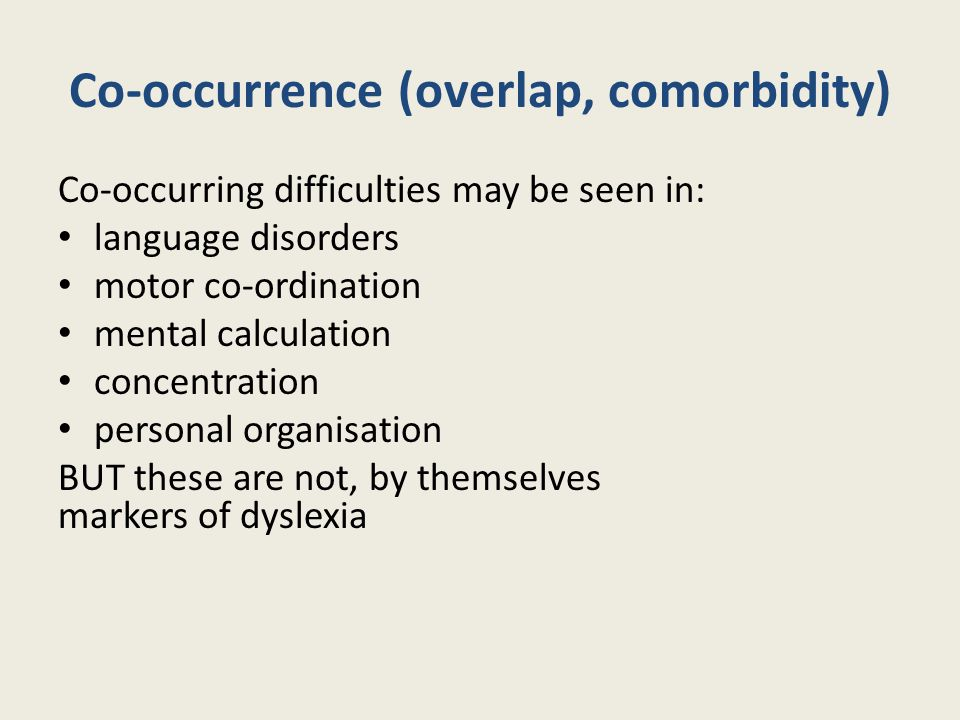 Co-occurrence (overlap, comorbidity)