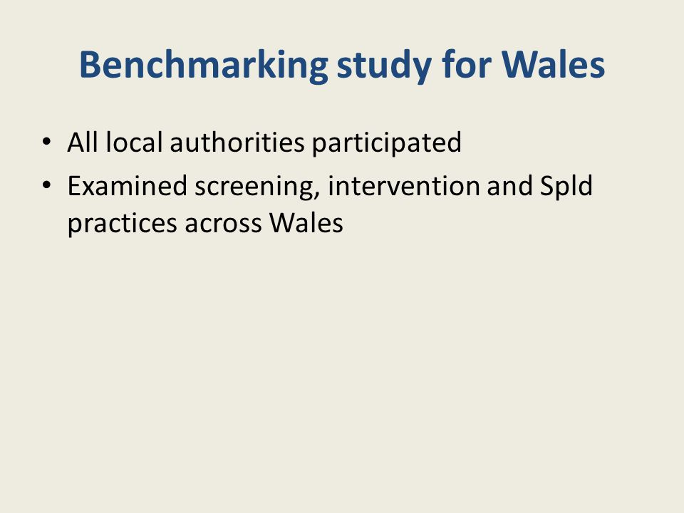 Benchmarking study for Wales