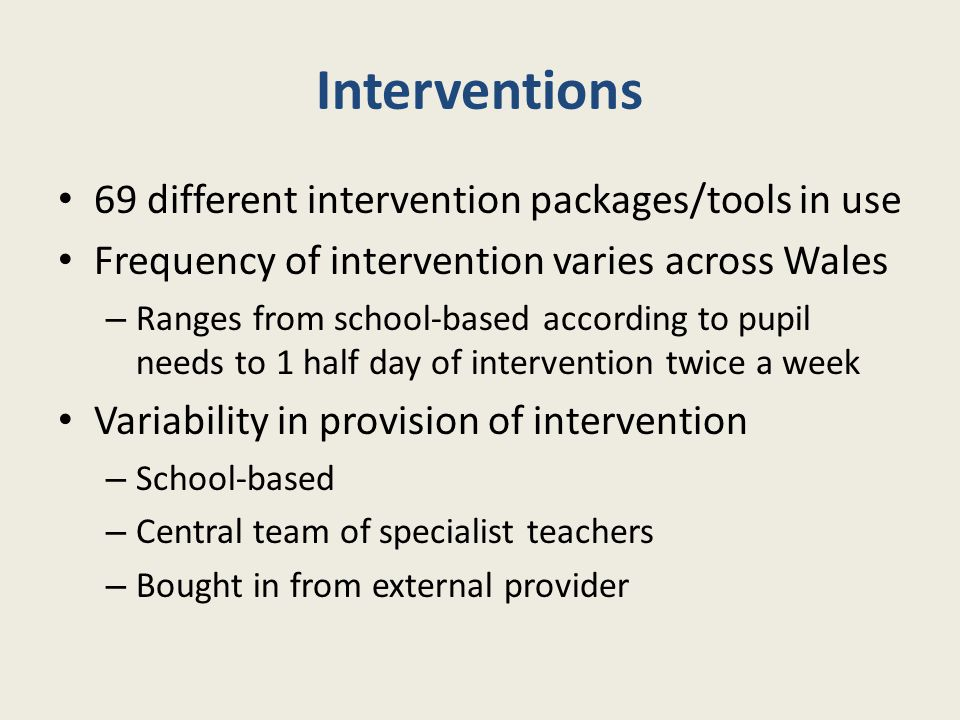 Interventions 69 different intervention packages/tools in use