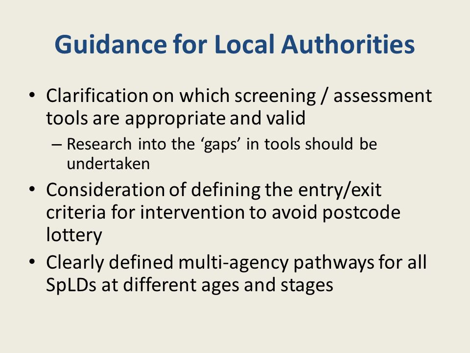 Guidance for Local Authorities