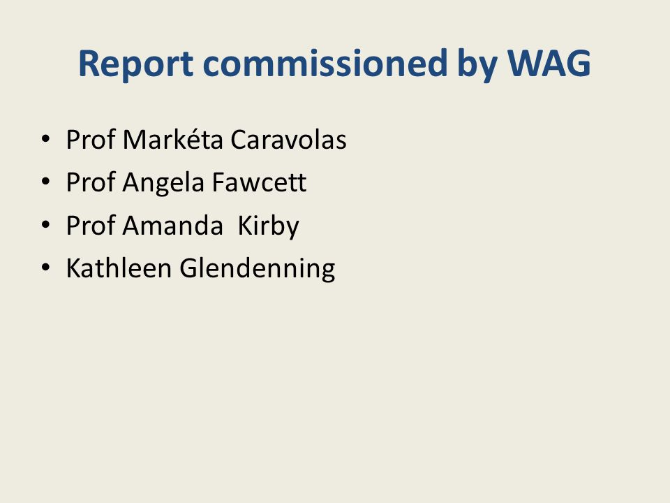 Report commissioned by WAG