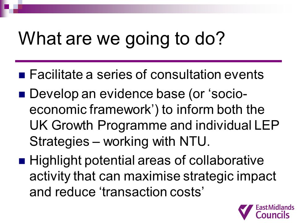 What are we going to do Facilitate a series of consultation events