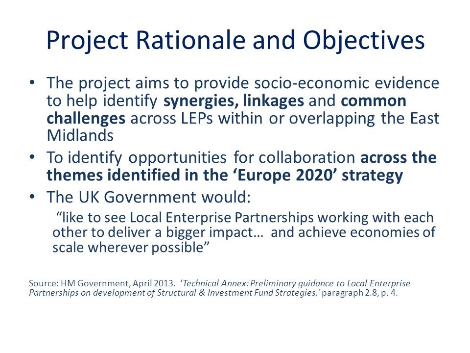 Project Rationale and Objectives